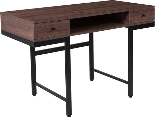Wholesale Bartlett Dark Ash Wood Grain Finish Computer Desk with Drawers and Black Metal Legs