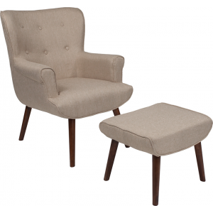 Wholesale Bayton Upholstered Wingback Chair with Ottoman in Beige Fabric
