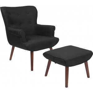 Wholesale Bayton Upholstered Wingback Chair with Ottoman in Black Fabric