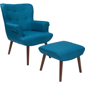 Wholesale Bayton Upholstered Wingback Chair with Ottoman in Blue Fabric