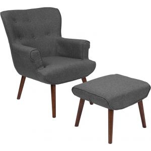 Wholesale Bayton Upholstered Wingback Chair with Ottoman in Dark Gray Fabric