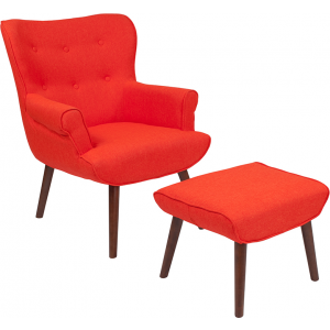 Wholesale Bayton Upholstered Wingback Chair with Ottoman in Orange Fabric