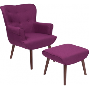 Wholesale Bayton Upholstered Wingback Chair with Ottoman in Purple Fabric