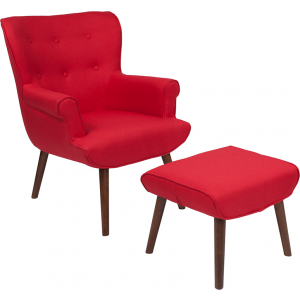 Wholesale Bayton Upholstered Wingback Chair with Ottoman in Red Fabric
