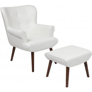 Wholesale Bayton Upholstered Wingback Chair with Ottoman in White Leather
