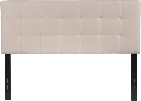 Lowest Price Bedford Tufted Upholstered Full Size Headboard in Beige Fabric