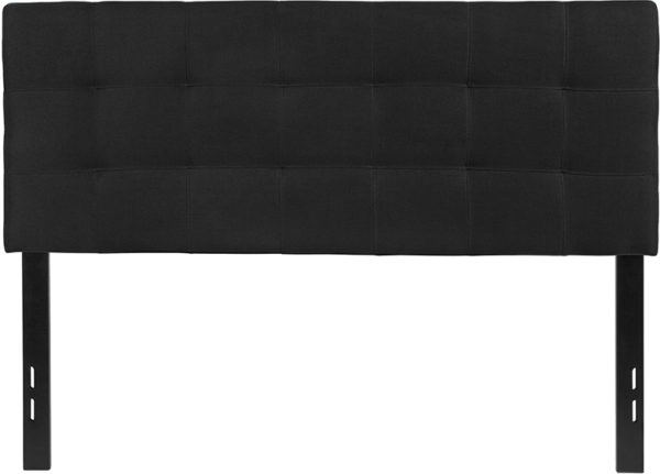 Lowest Price Bedford Tufted Upholstered Full Size Headboard in Black Fabric