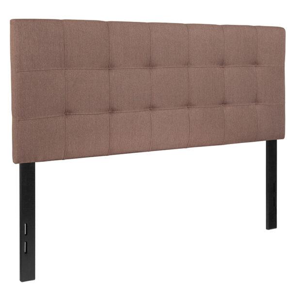 Contemporary Style Panel Headboard Full Headboard-Camel Fabric