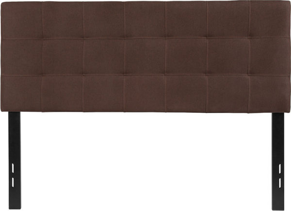 Lowest Price Bedford Tufted Upholstered Full Size Headboard in Dark Brown Fabric