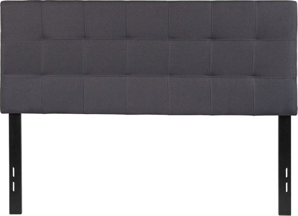 Lowest Price Bedford Tufted Upholstered Full Size Headboard in Dark Gray Fabric