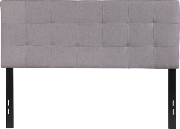 Lowest Price Bedford Tufted Upholstered Full Size Headboard in Light Gray Fabric