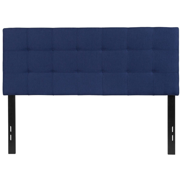 Lowest Price Bedford Tufted Upholstered Full Size Headboard in Navy Fabric