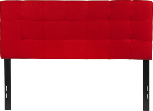Lowest Price Bedford Tufted Upholstered Full Size Headboard in Red Fabric
