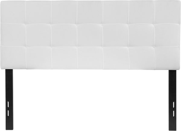 Lowest Price Bedford Tufted Upholstered Full Size Headboard in White Fabric