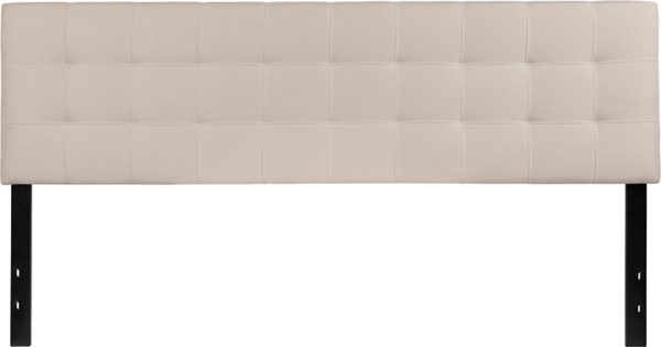 Lowest Price Bedford Tufted Upholstered King Size Headboard in Beige Fabric