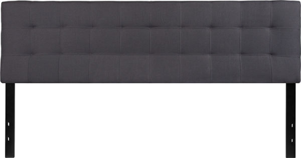Lowest Price Bedford Tufted Upholstered King Size Headboard in Dark Gray Fabric