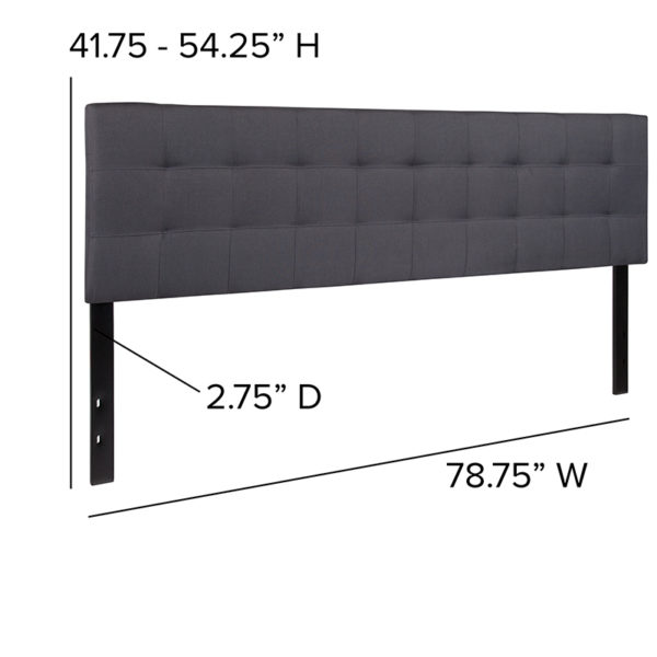 Contemporary Style King Headboard-Gray Fabric