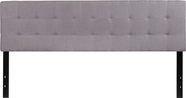 Lowest Price Bedford Tufted Upholstered King Size Headboard in Light Gray Fabric