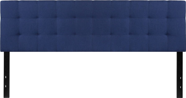 Lowest Price Bedford Tufted Upholstered King Size Headboard in Navy Fabric