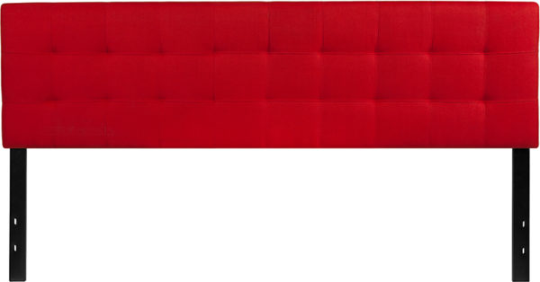Lowest Price Bedford Tufted Upholstered King Size Headboard in Red Fabric