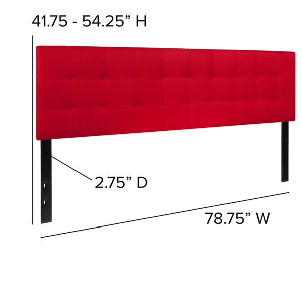 Contemporary Style King Headboard-Red Fabric