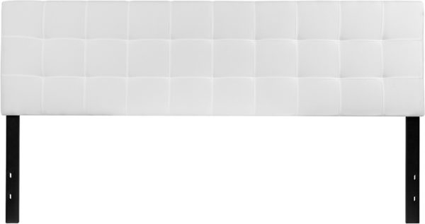 Lowest Price Bedford Tufted Upholstered King Size Headboard in White Fabric