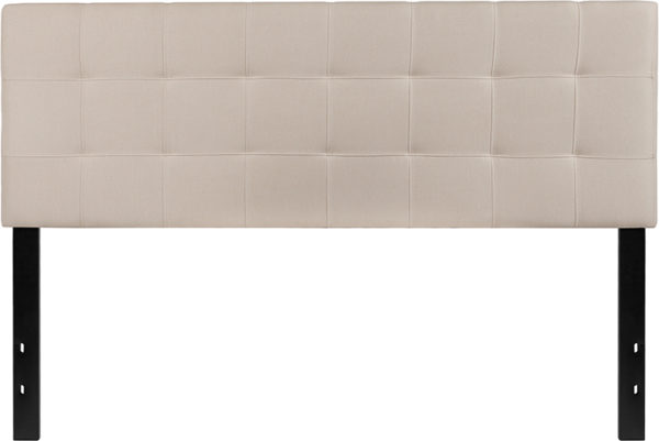 Lowest Price Bedford Tufted Upholstered Queen Size Headboard in Beige Fabric