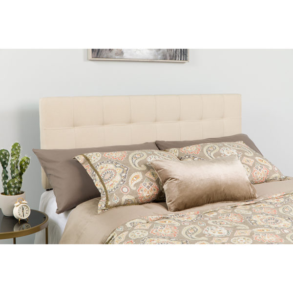 Wholesale Bedford Tufted Upholstered Queen Size Headboard in Beige Fabric
