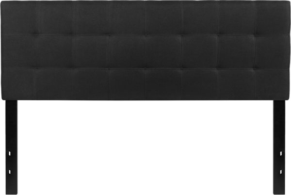 Lowest Price Bedford Tufted Upholstered Queen Size Headboard in Black Fabric