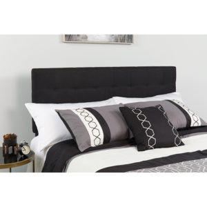 Wholesale Bedford Tufted Upholstered Queen Size Headboard in Black Fabric