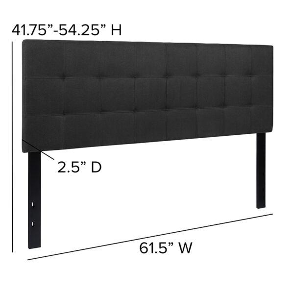 Contemporary Style Queen Headboard-Black Fabric