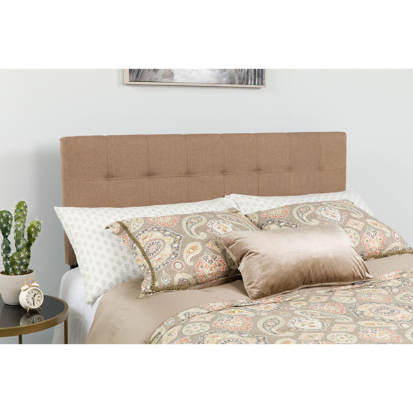Wholesale Bedford Tufted Upholstered Queen Size Headboard in Camel Fabric
