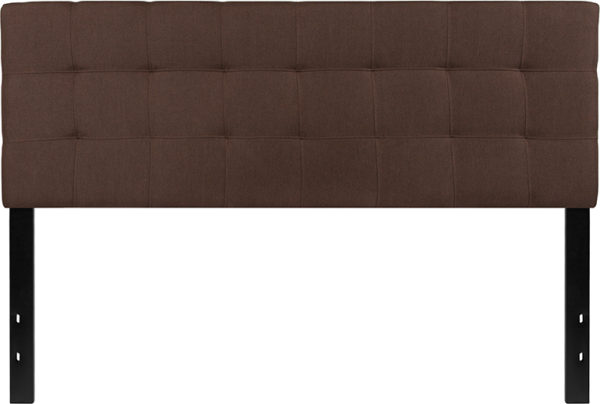 Lowest Price Bedford Tufted Upholstered Queen Size Headboard in Dark Brown Fabric