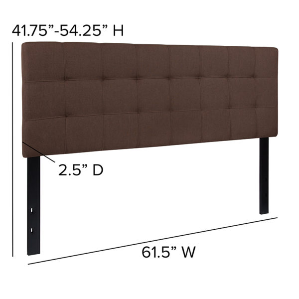 Contemporary Style Queen Headboard-Brown Fabric