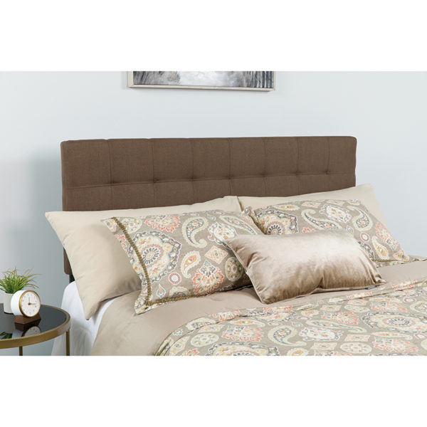 Wholesale Bedford Tufted Upholstered Queen Size Headboard in Dark Brown Fabric