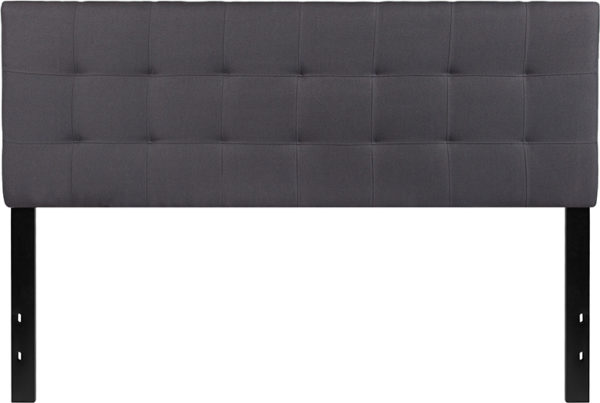 Lowest Price Bedford Tufted Upholstered Queen Size Headboard in Dark Gray Fabric