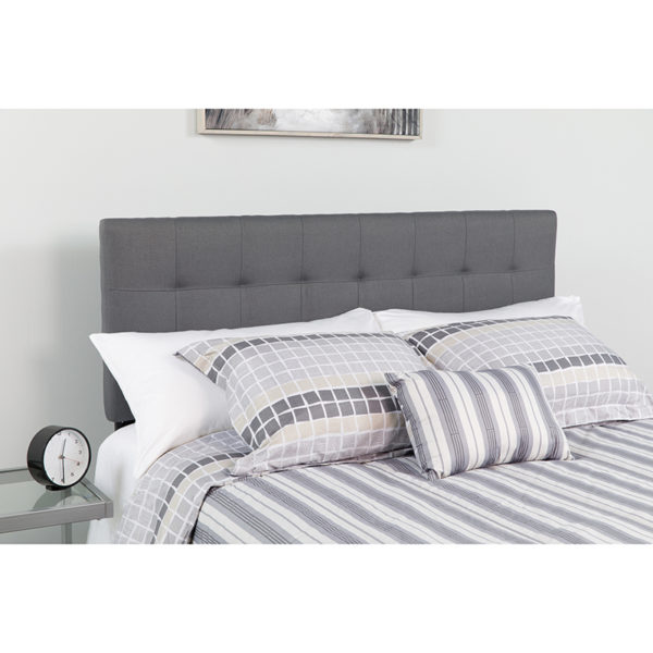 Wholesale Bedford Tufted Upholstered Queen Size Headboard in Dark Gray Fabric