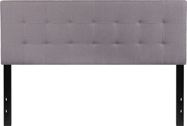 Lowest Price Bedford Tufted Upholstered Queen Size Headboard in Light Gray Fabric