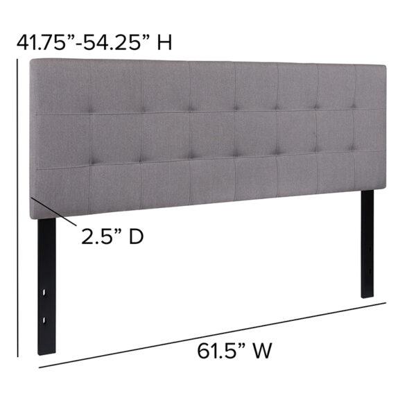 Contemporary Style Queen Headboard-Gray Fabric