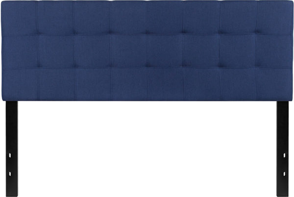 Lowest Price Bedford Tufted Upholstered Queen Size Headboard in Navy Fabric