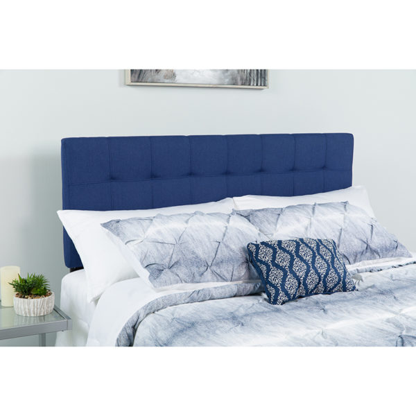 Wholesale Bedford Tufted Upholstered Queen Size Headboard in Navy Fabric