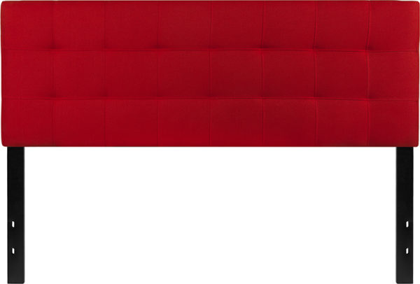 Lowest Price Bedford Tufted Upholstered Queen Size Headboard in Red Fabric