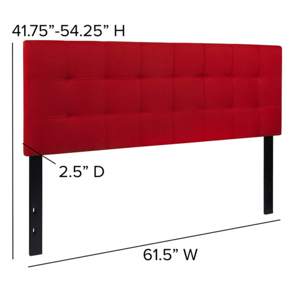 Contemporary Style Queen Headboard-Red Fabric