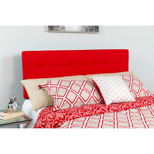 Wholesale Bedford Tufted Upholstered Queen Size Headboard in Red Fabric