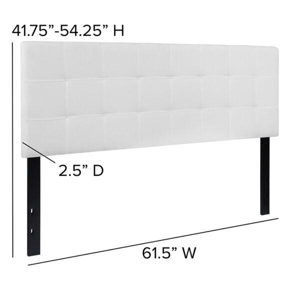 Contemporary Style Queen Headboard-White Fabric