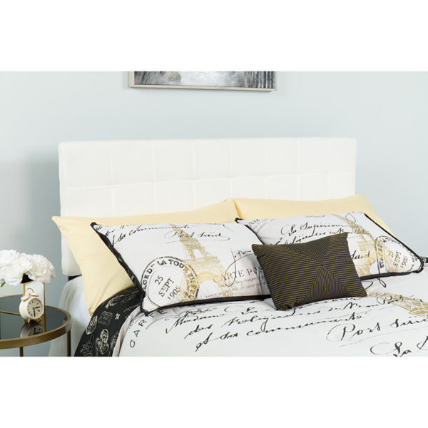 Wholesale Bedford Tufted Upholstered Queen Size Headboard in White Fabric