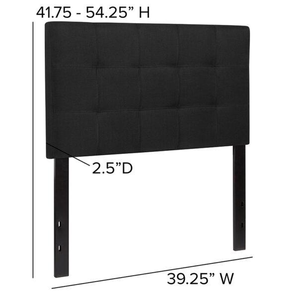 Contemporary Style Twin Headboard-Black Fabric