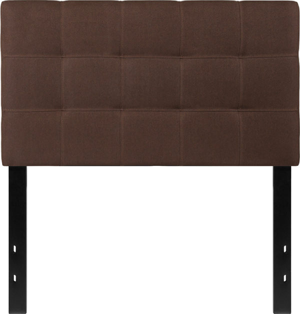 Lowest Price Bedford Tufted Upholstered Twin Size Headboard in Dark Brown Fabric