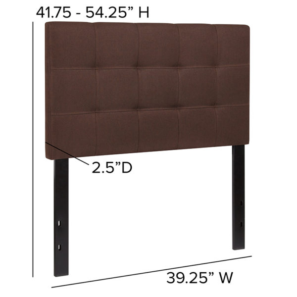Contemporary Style Twin Headboard-Brown Fabric