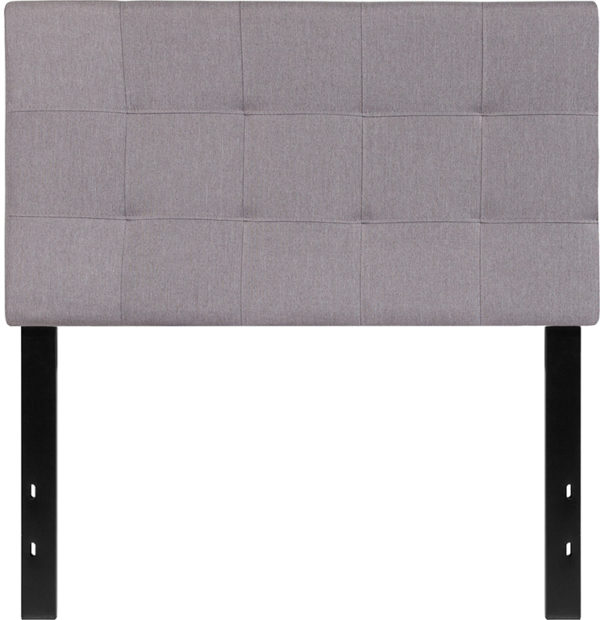 Lowest Price Bedford Tufted Upholstered Twin Size Headboard in Light Gray Fabric